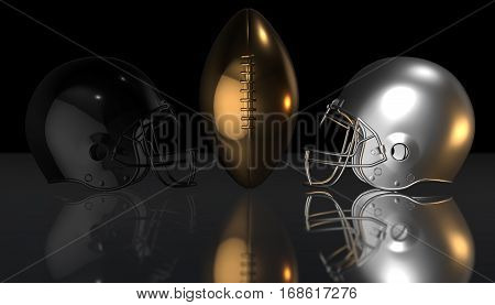 American football black and gray helmets and gold trophy ball on black dark background, 3d render