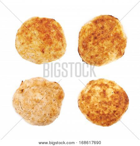 Cottage cheese flapjack flat cake isolated over the white background, set of four different foreshortenings