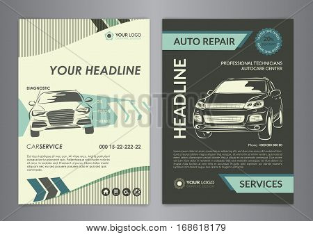 Set A4 auto repair business layout templates automobile magazine cover auto repair shop brochure mockup flyer. Vector illustration.