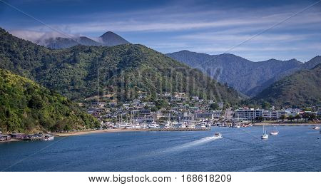 Scenic view of Picton, South Island, New Zealand from the ferry arriving from Wellington