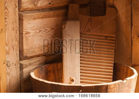 Wooden Washboard And Bowl Made Of Boards