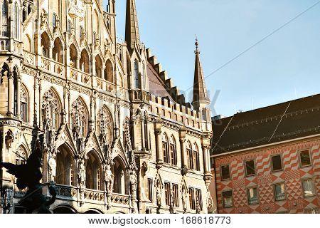 Marienplatz town hall of Munich, Germany, Europe.