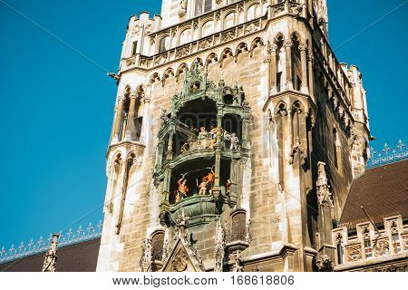 Marienplatz town hall of Munich, Germany, Europe.