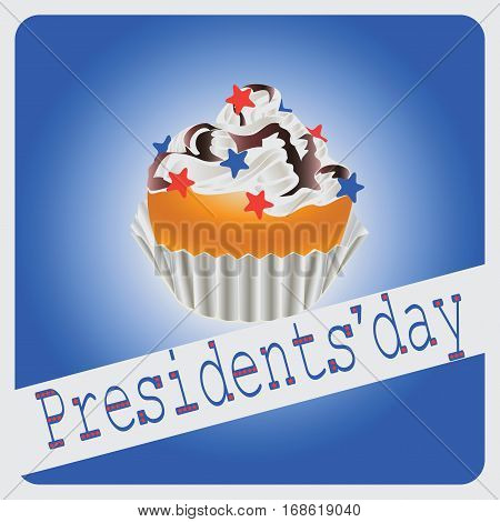Festive cupcake to the Presidential day. Congratulations. Vector image for holiday cards, icon with symbols of the United States.