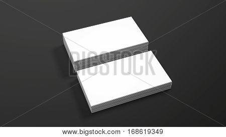 Business card template on black background. High resolution 3d render. Personal branding mockup template. Soft shadow.