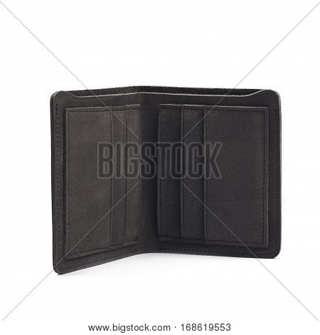 Flat foldable black leather wallet isolated over the white background