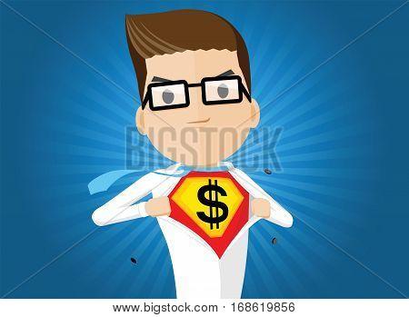 business man super hero in action vector