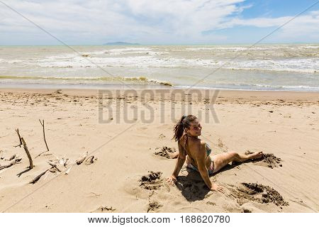 Girl At The Beach Alberese Of The Italian Region Tuscany