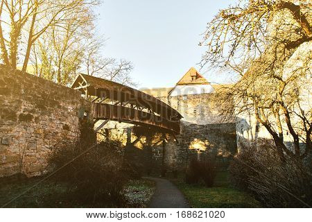 The bridge on the strongholds in Germany. Bavaria. Rothenburg Ob der Tauber. The ancient fortress.