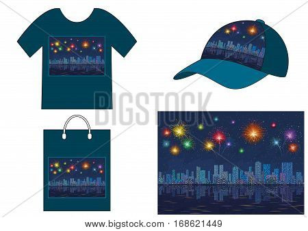 Horizontal Seamless Landscape, Holiday Urban Background, Night City, Reflecting in Blue Sea, With Skyscrapers and Bright Fireworks in Starry Sky, Presented in Tank Top, Shopping Bag and Cap. Vector