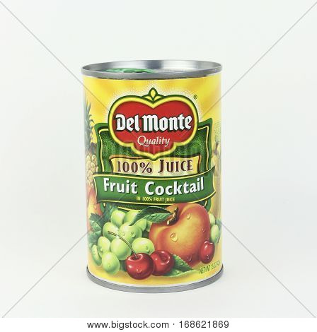 Spencer Wisconsin February 4 2017 Can of Del Monte Fruit Cocktail Del Monte is an American food company founded in 1886