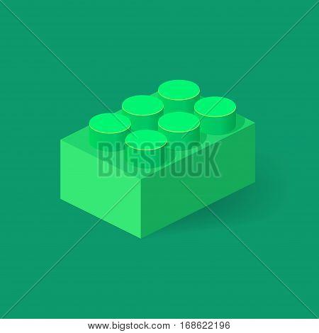 Isometric Plastic Building Block with shadow. Vector green brick