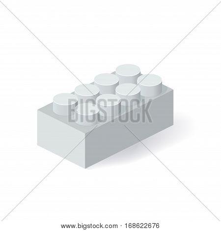 Isometric Plastic Building Block with shadow. Vector grey brick