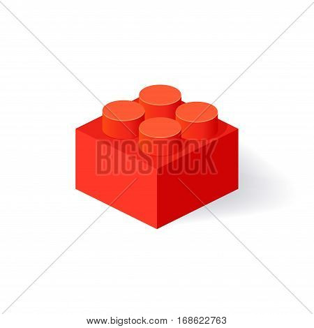 Isometric Plastic Building Block with shadow. Vector red brick