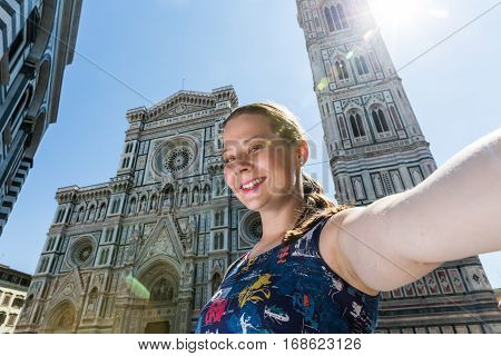 Girl In Front Of The Cattedrale Di Santa Maria Del Fiore In Florence