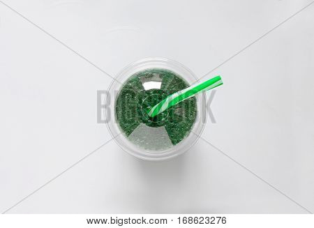 Spirulina smoothies in a glass healthy eating concept view from above