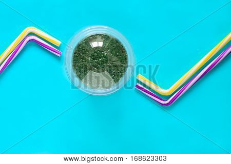 Spirulina smoothies in a glass healthy eating or healthy lifestyle concept view from abovespace for a text