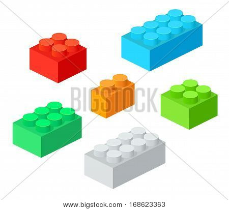 Isometric Plastic Building Blocks with shadow. Vector set of the colored bricks.
