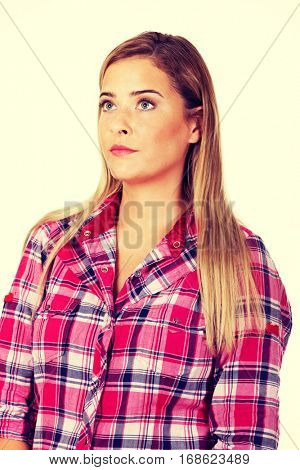 Annoyed and offended blonde young woman