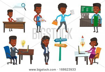 African business man using cloud computing technologies. Business man working on laptop under cloud. Cloud computing concept. Set of vector flat design illustrations isolated on white background.