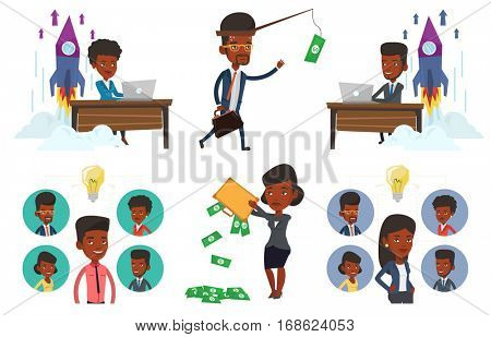 Businessman motivated by money hanging on fishing rod. Money on fishing rod as motivation for man. Concept of business motivation. Set of vector flat design illustrations isolated on white background.