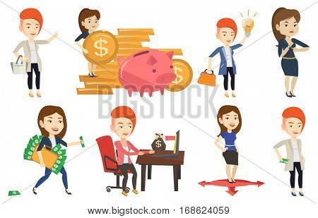 Businesswoman putting money bribe in pocket. Businesswoman hiding money bribe in pants pocket. Bribery and corruption concept. Set of vector flat design illustrations isolated on white background.