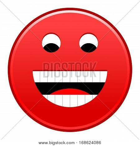 Red smiling face cheerful smiley happy emoticon. Quick and easy recolorable shape isolated from background. Vector illustration a graphic element for web internet design