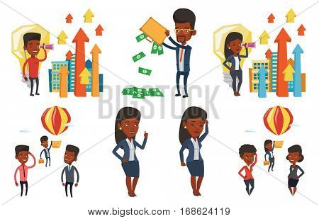 Two employees looking at their successful colleague. Hardworking employee flying away in balloon from less successful colleagues. Set of vector flat design illustrations isolated on white background.