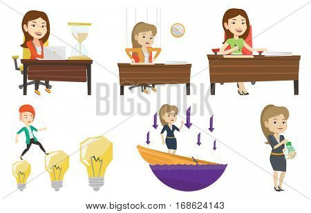 Young caucasian businesswoman signing business documents in office. Confirmation of transaction by signing of business contract. Set of vector flat design illustrations isolated on white background.