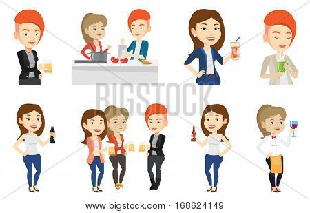 Women toasting and clinking glasses of beer. Caucasian women clanging glasses of beer. Group of friends enjoying a beer at pub. Set of vector flat design illustrations isolated on white background.