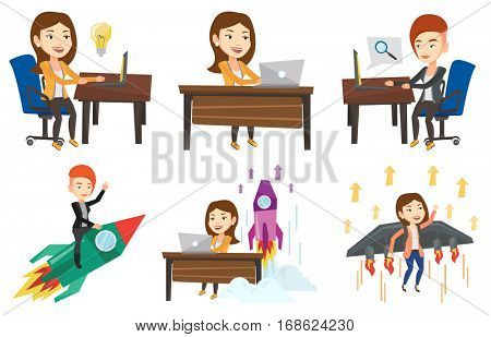 Businesswoman flying on business start up rocket. Businesswoman waving on business start up rocket. Business start up concept. Set of vector flat design illustrations isolated on white background.