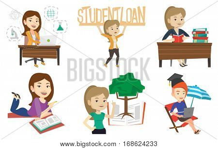Student sitting at the table and holding a textbook. Student reading a textbook. Cheerful student preparing for exam with textbook. Set of vector flat design illustrations isolated on white background