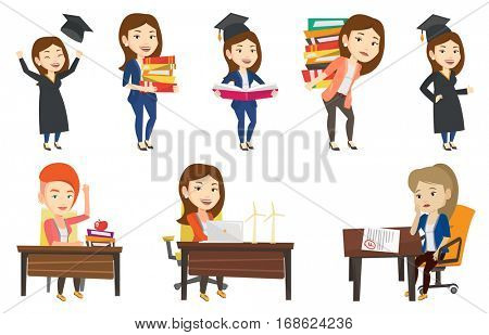 Caucasian woman holding pile of educational books. Student carrying huge stack of books. Student preparing for exam with books. Set of vector flat design illustrations isolated on white background.