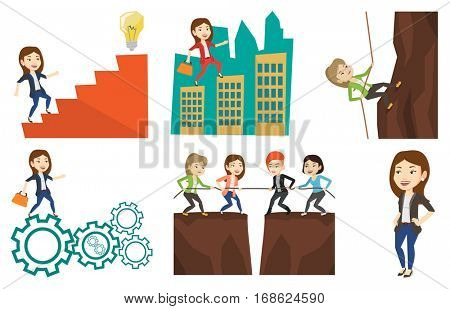 Caucasian business woman climbing on the rock. Business woman climbing on the mountain using rope. Concept of business challenge. Set of vector flat design illustrations isolated on white background.