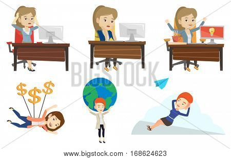 Caucasian overworked business woman feeling stress from work. Stressful employee sitting at workplace. Stress at work concept. Set of vector flat design illustrations isolated on white background.