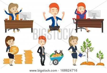 Successful businesswoman celebrating at workplace. Successful businesswoman celebrating success. Successful business concept. Set of vector flat design illustrations isolated on white background.