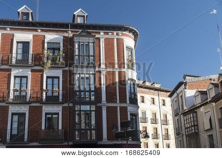 Valladolid (Castilla y Leon Spain): historic building with the typical verandas near Plaza Mayor the main square of the city