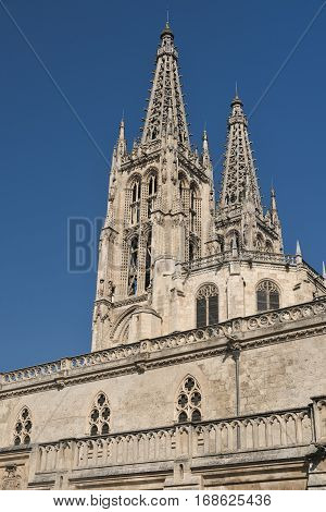 Burgos (Castilla y Leon Spain): exterior of the medieval cathedral in gothic style at morning