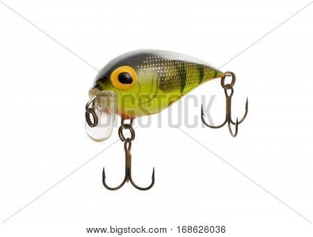 Fishing lure isolated on white background.. Wobbler in three color. Green and black colors.