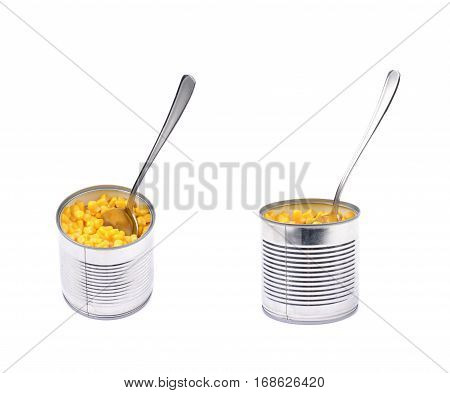 Canned corn in a tincan with a spoon in it, composition isolated over the white background, set of two different foreshortenings