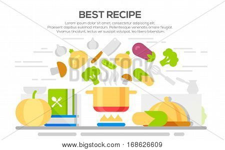 Best recipes concept with flying food ingredients. Kitchen utensils and ingredients on the kitchen table, food preparation. Vegetarian and vegan food recipes banner.