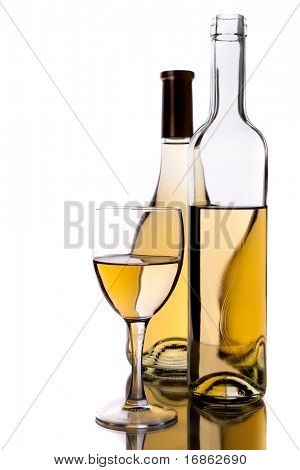 wine bottles and glass over white background
