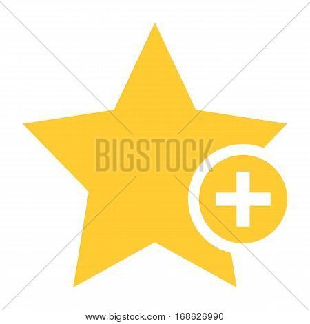 Flat star icon favorite sign bookmark yellow gold button with plus pictogram. Quick and easy recolorable shape isolated from background. Vector illustration a graphic element for web internet design