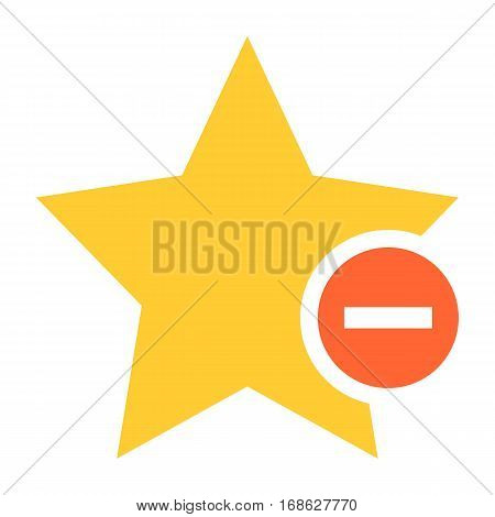 Flat star icon favorite sign bookmark yellow gold button with minus pictogram. Quick and easy recolorable shape isolated from background. Vector illustration a graphic element for web internet design
