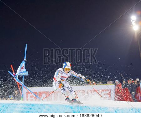 STOCKHOLM SWEDEN - JAN 31 2017: Snow squirting from Linus Strasser (GER) in the parallel slalom downhill alpine skiing event Audi FIS Ski World Cup. January 31 2017 Stockholm Sweden