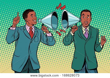 Vintage a dialogue between two people, campaigning politics and preaching. pop art retro illustration. African American businessman