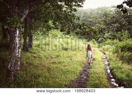 Young girl from the back in a dress walking alone on the trail in a forest. Green fantasy wood landscape with woman trees and a creek