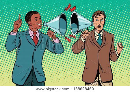 Interracial dialogue and the policy of inter-ethnic relations, tolerance. campaigning politics and preaching. pop art retro illustration