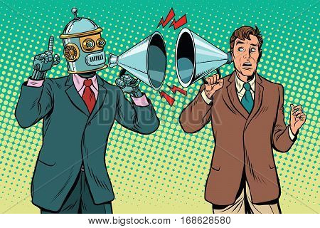 artificial intelligence robot speaks to the human. Vintage pop art retro illustration. Computer and new technology