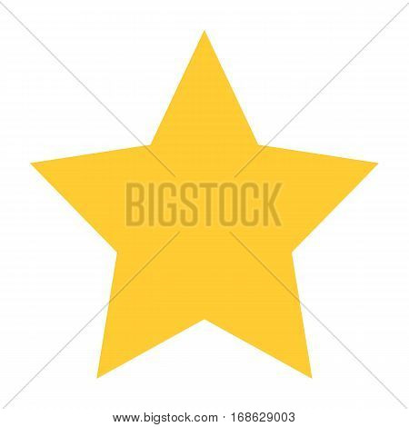 Flat star icon favorite sign bookmark yellow gold button. Quick and easy recolorable shape isolated from background. Vector illustration a graphic element for web internet design